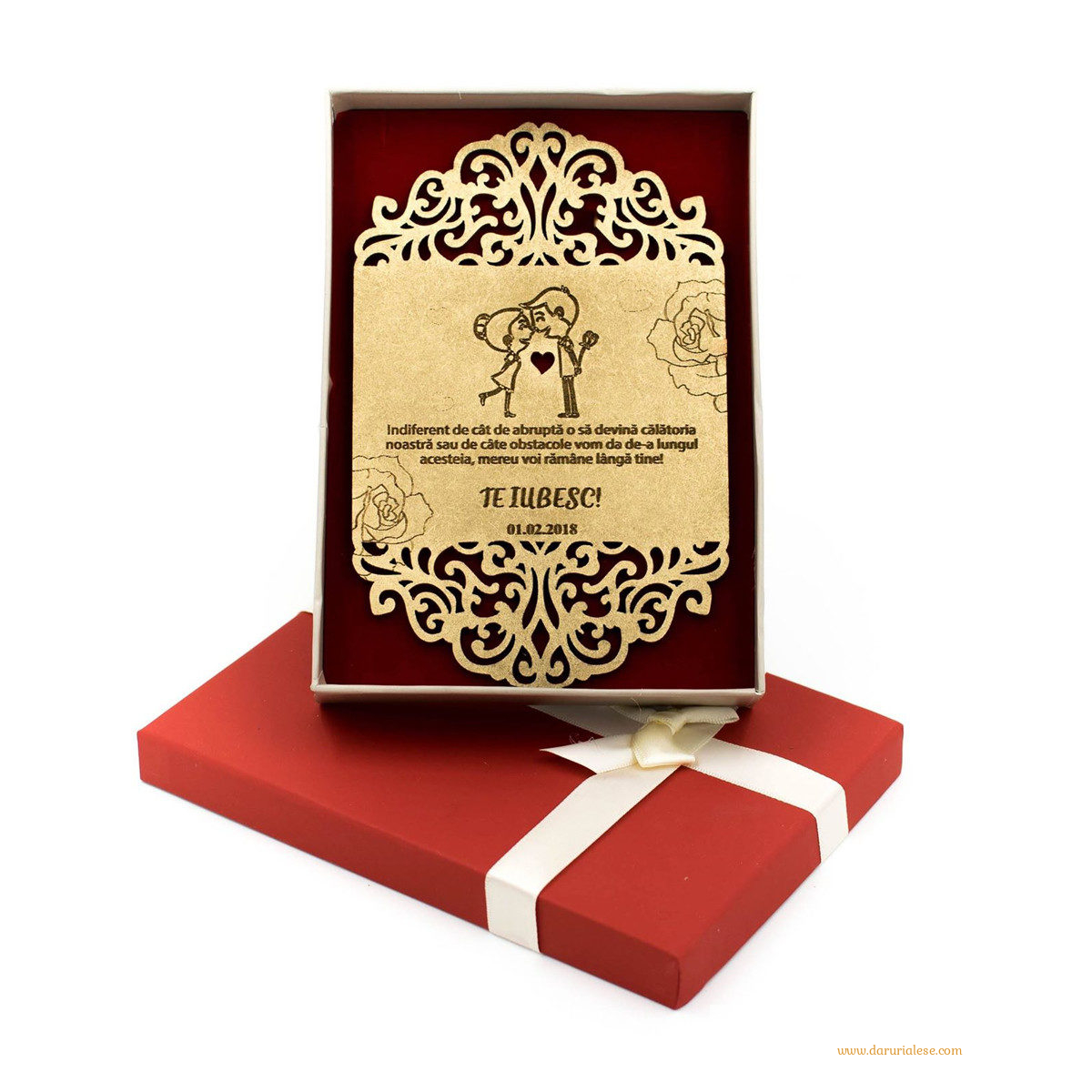 Felicitare din lemn personalizata - Cuplu