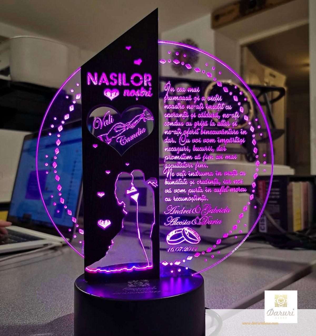 Cadou nasi personalizat Trofeu LED - Placheta pentru nasi