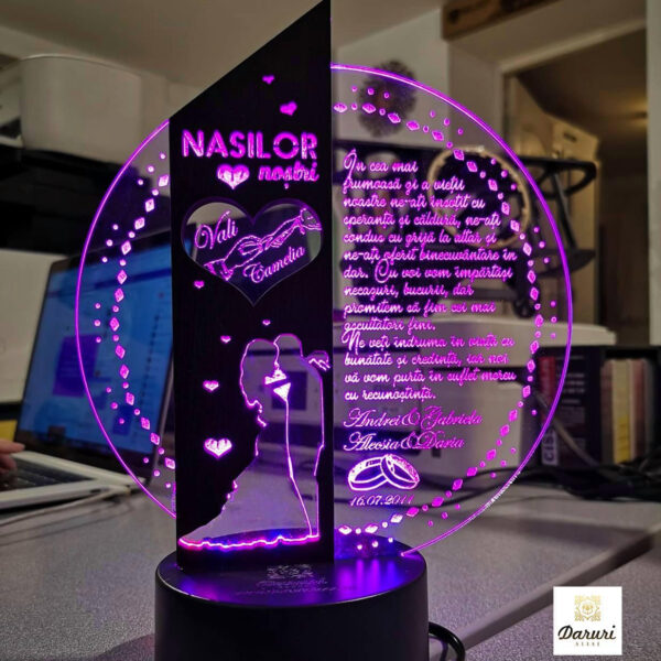 Cadou personalizat Trofeu LED - Placheta pentru nasi