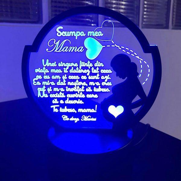 Cadou personalizat Trofeu LED - Pentru mama - Model 3