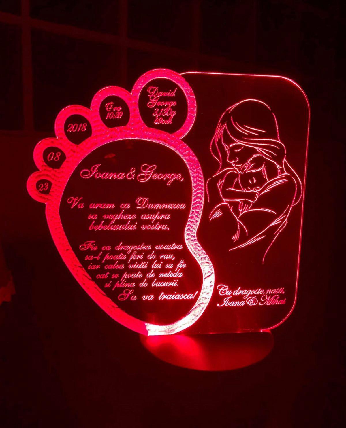 Cadou personalizat Trofeu LED - Pentru nasi botez