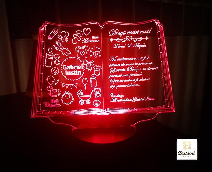 Cadou personalizat Trofeu LED - Pentru nasi de botez - Carticica