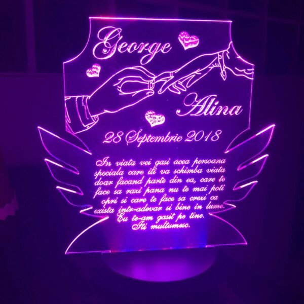 Cadou personalizat Trofeu LED - Pentru cuplu