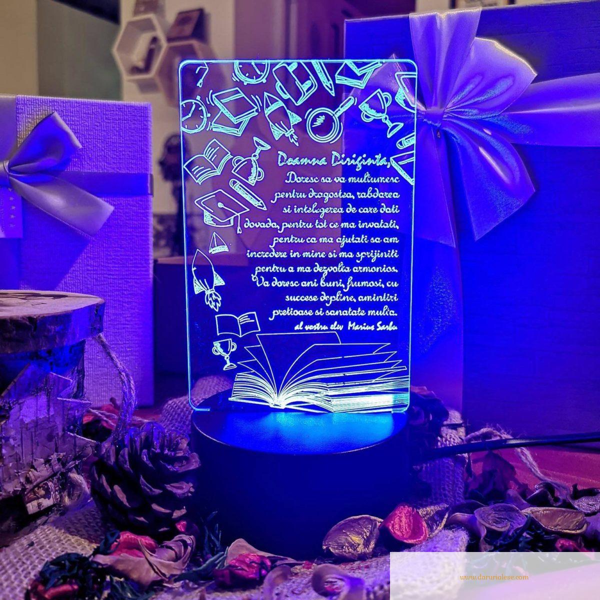 Cadou personalizat Trofeu LED - Diriginta Model 1