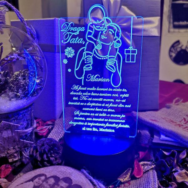 Cadou personalizat Trofeu LED - Eroul meu tata