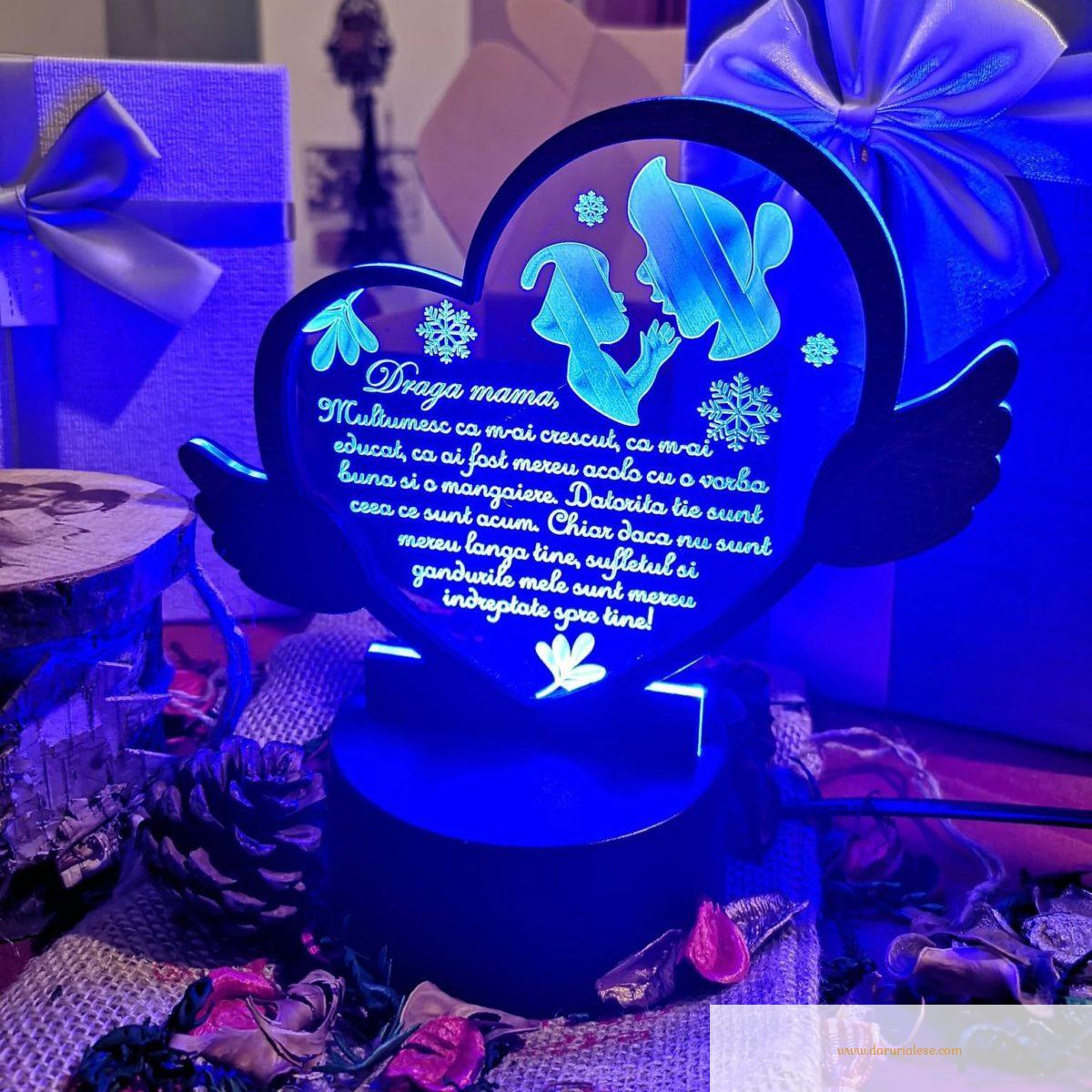 Cadou personalizat Trofeu LED - Pentru mama Model 2