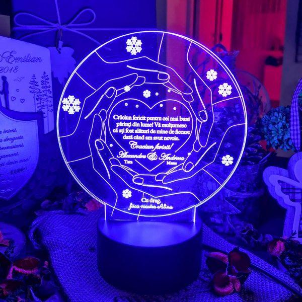 Cadou personalizat Trofeu LED pentru parinti - Craciun