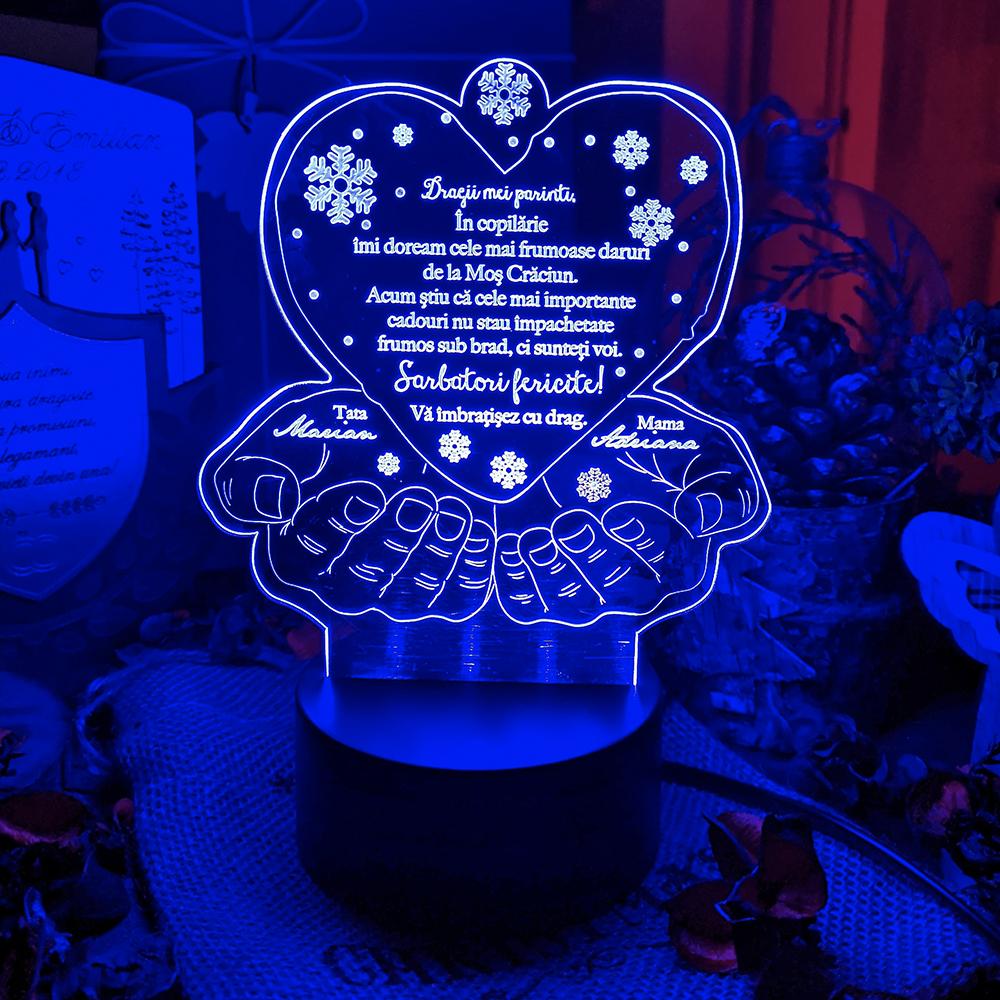 Cadou personalizat Trofeu LED pentru parinti