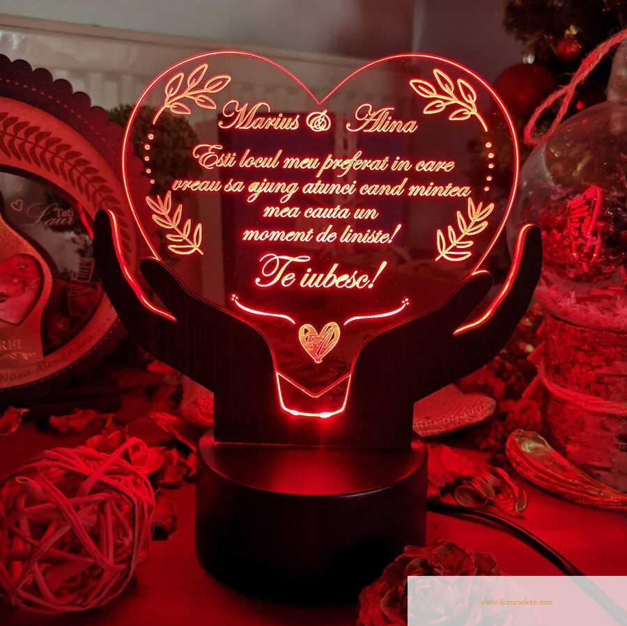 Cadou personalizat Trofeu led - Placheta inima mea - LED