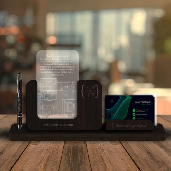 Cadou personalizat Trofeu - Suport carti de vizita si pix pentru birou