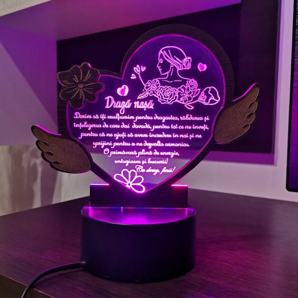 Cadou personalizat Trofeu LED - Placheta nasa 8 martie