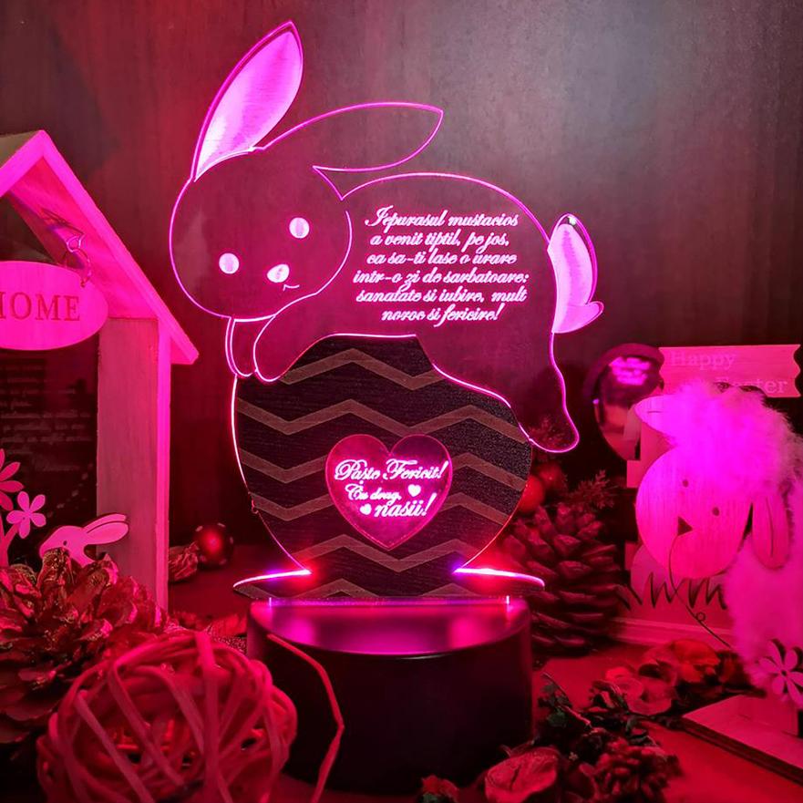Cadou personalizat Trofeu LED - Lenesul iepurila!
