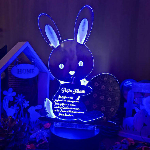 Cadou personalizat Trofeu LED - Iepurica!