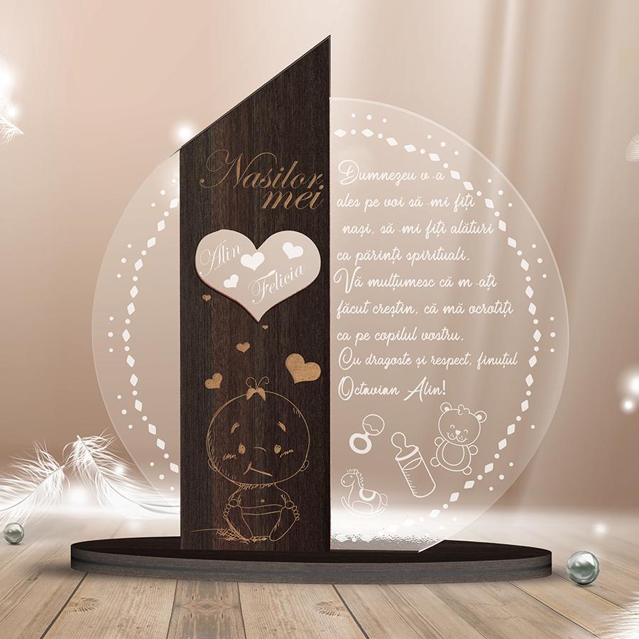 Cadou personalizat Trofeu - Placheta pentru nasii de botez