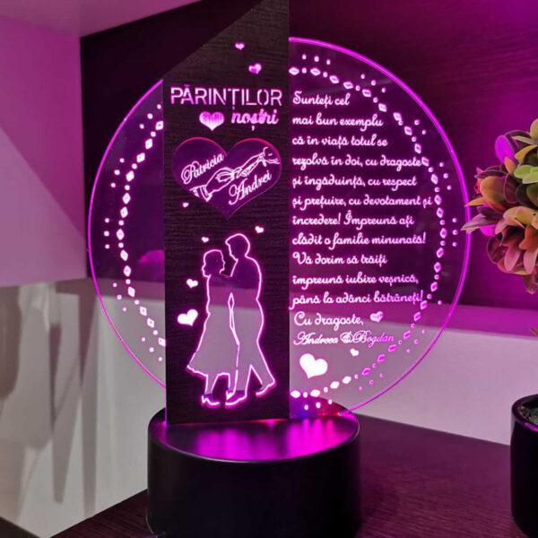 Cadou personalizat Trofeu LED - Placheta speciala pentru parinti