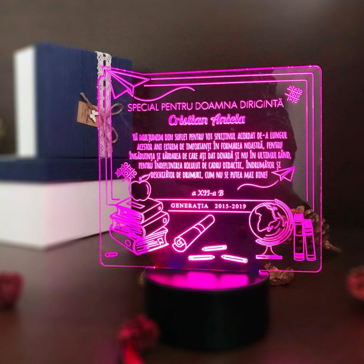 Cadou personalizat Trofeu LED - Diriginta Model Universal