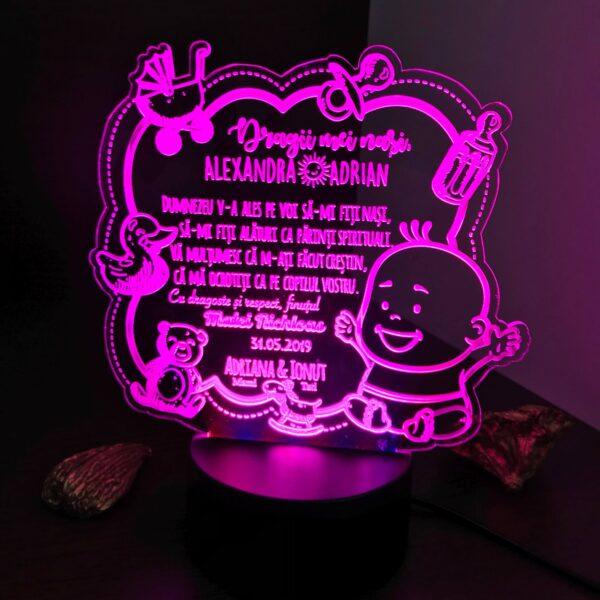 Cadou personalizat Trofeu LED - Special pentru nasii de botez