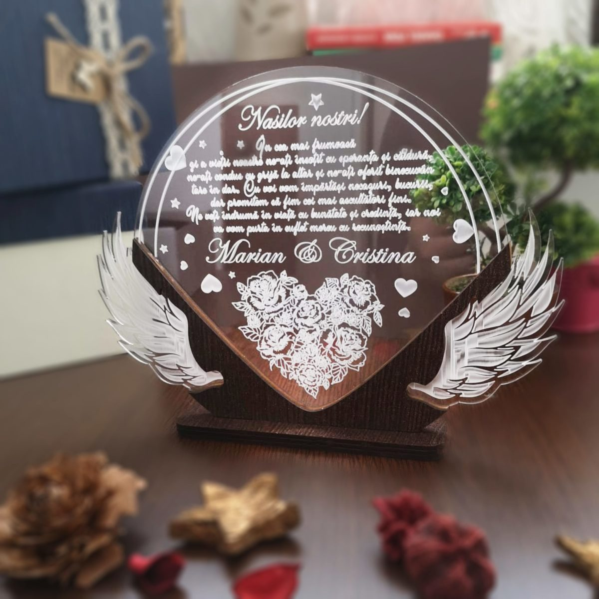 Cadou personalizat Trofeu pentru nasi - Multumim