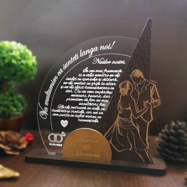 Cadou personalizat Trofeu pentru nasi - Va multumim!