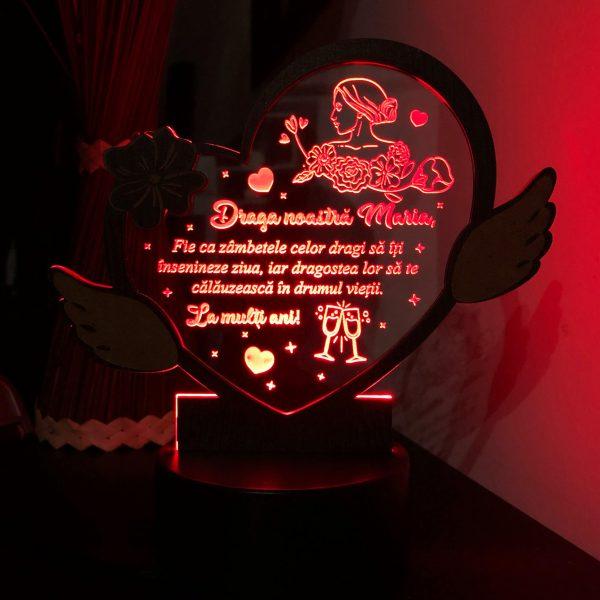 "Cadou personalizat - trofeu LED ""La multi ani, Maria!"""