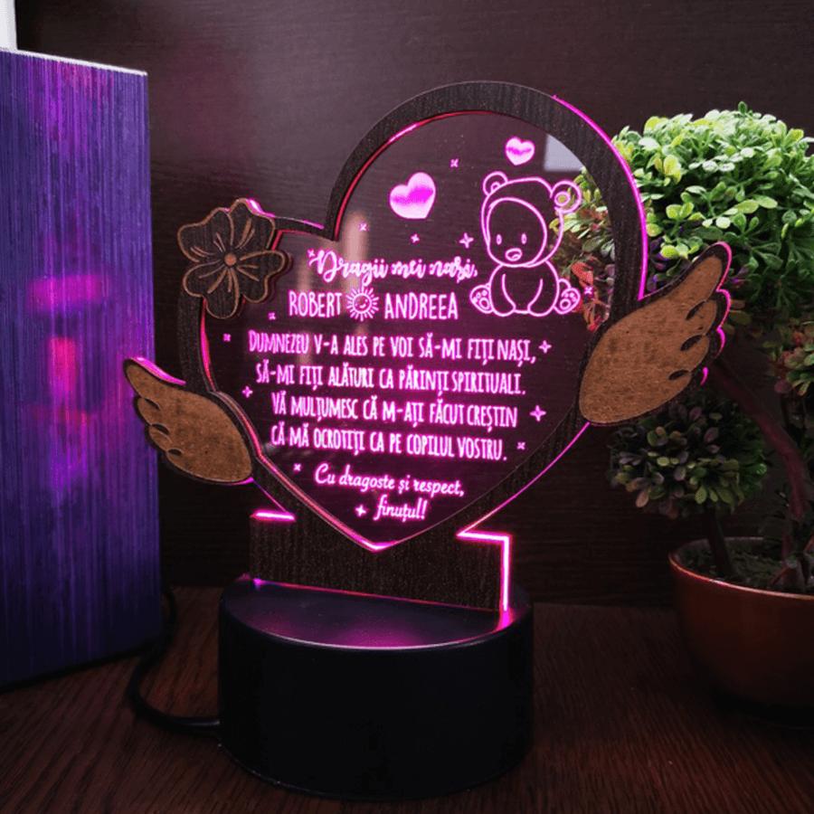 Cadou personalizat Trofeu LED - Inimioara pentru nasii de botez