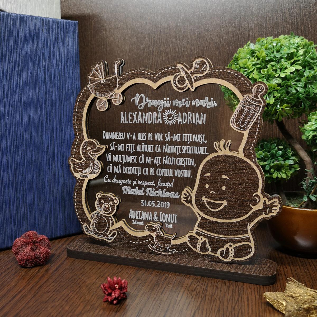 Cadou personalizat Trofeu Deosebit din lemn- Special pentru nasii de botez