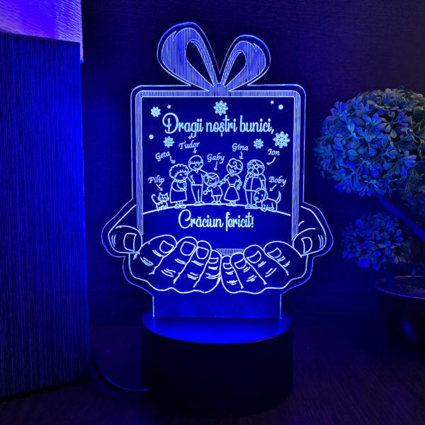Cadou personalizat pentru bunici - Craciun Fericit - LED multicolor