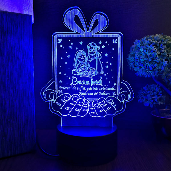 Cadou personalizat pentru nasi - Trofeu LED multicolor