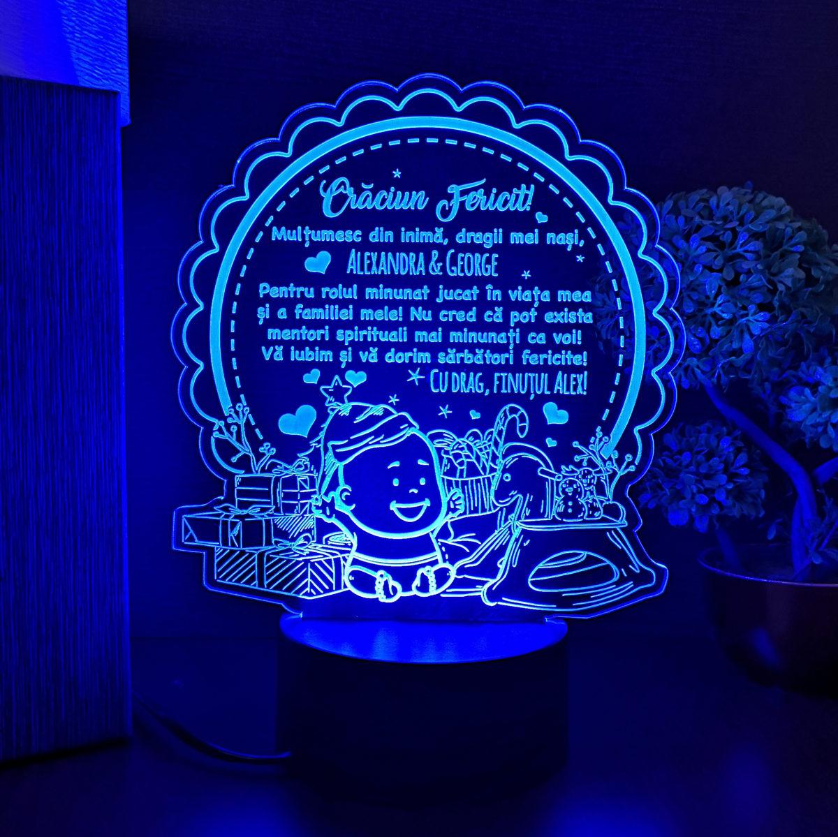 Cadou pentru nasii de botez - Craciun Fericit - LED multicolor