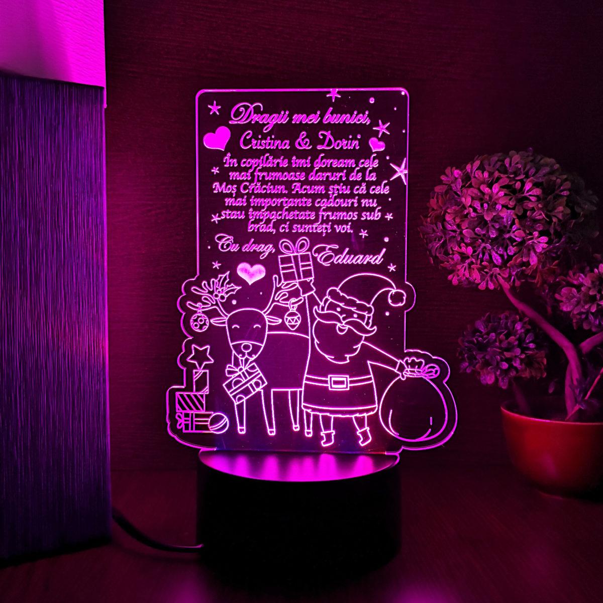 Cadou personalizat pentru bunici de Craciun - LED multicolor