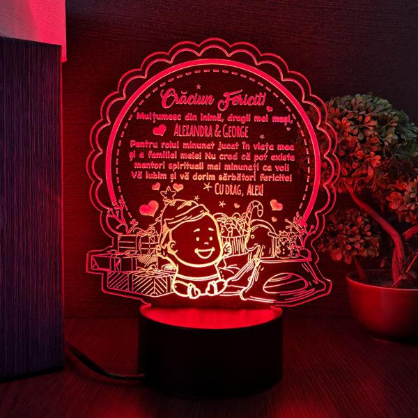 Cadou pentru mosi - Craciun Fericit - LED multicolor
