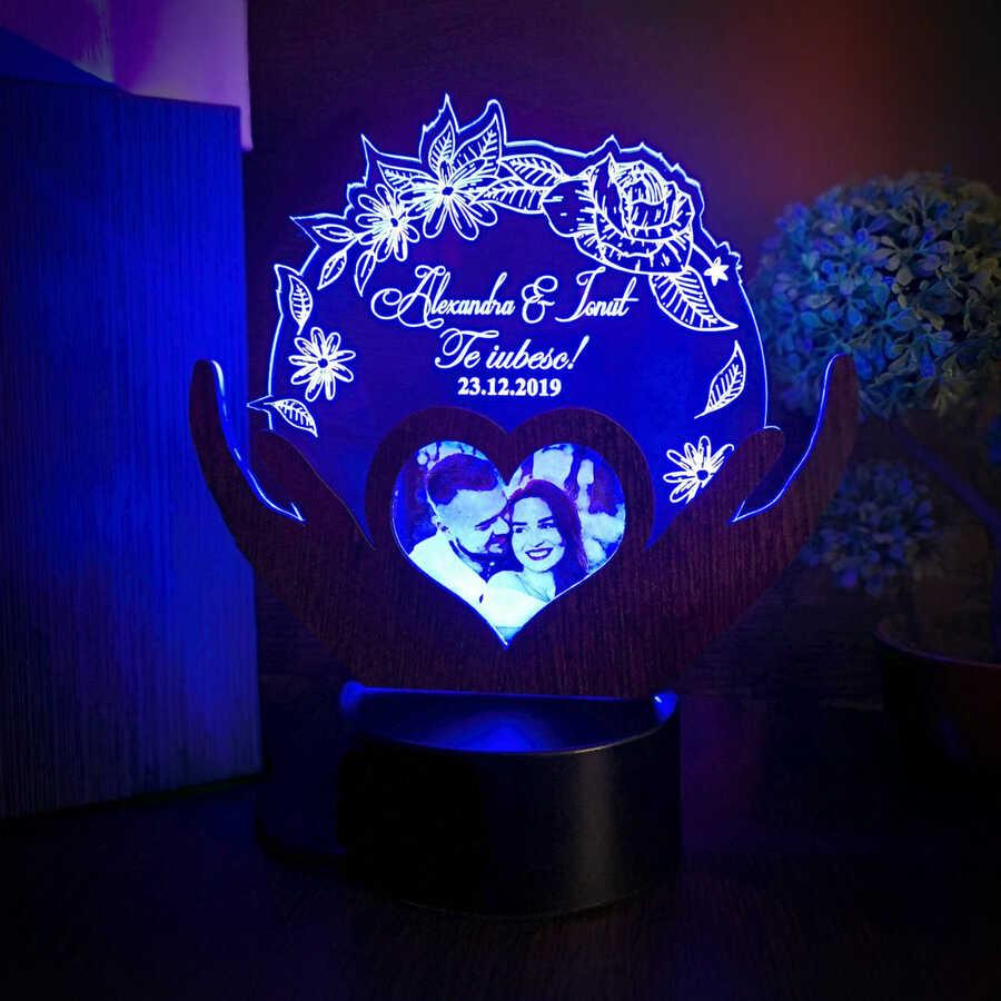 Trofeu pentru persoana iubita - LED multicolor si poza