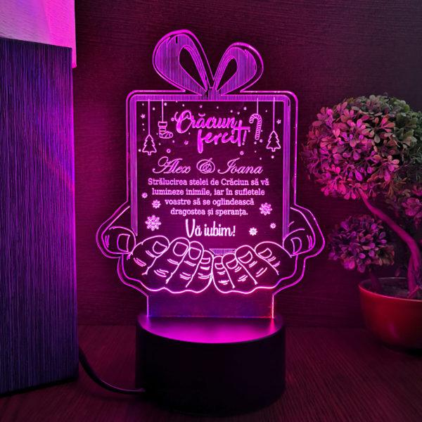 Cadou personalizat - Urare de Craciun - LED multicolor