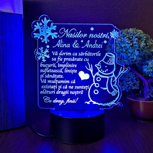 Trofeu pentru nasi de Craciun - LED multicolor - Om de zapada