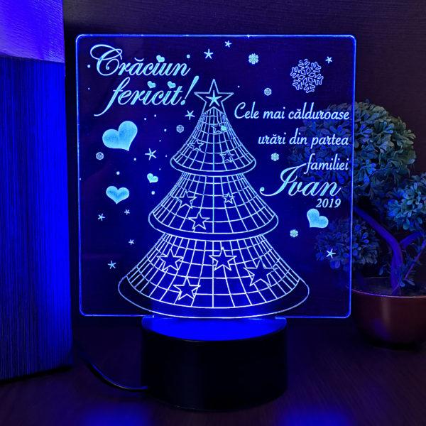 Trofeu Craciun Fericit - pentru familie - LED multicolor