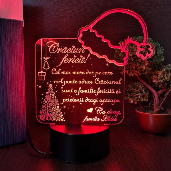 Trofeu Craciun Fericit - pentru prieteni - LED multicolor